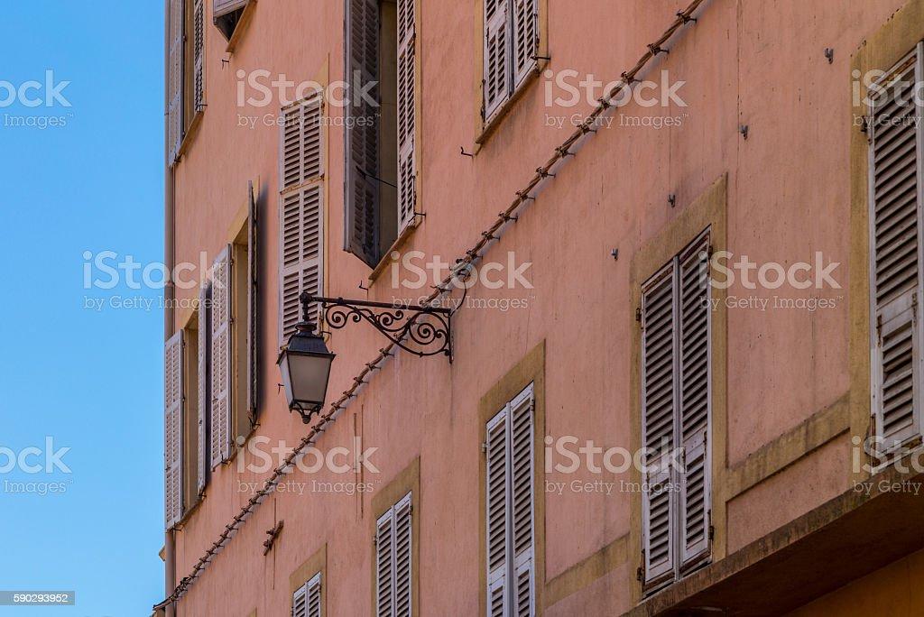 Windows of the buildings in Ajaccio in Corsica - 1 royaltyfri bildbanksbilder