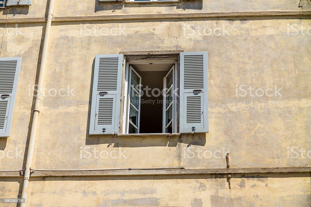 Windows of the buildings in Ajaccio in Corsica - 2 royaltyfri bildbanksbilder