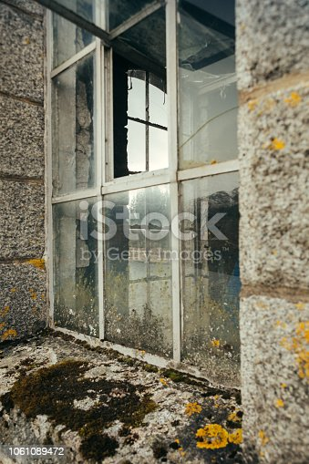 Windows of the service building on a Laggan Dam on the Spean River, Scotland, UK