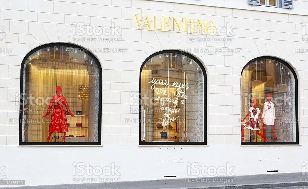 Windows of Valentino boutique in Rome stock photo