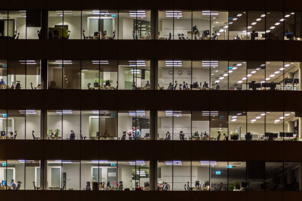 Windows office building. stock photo