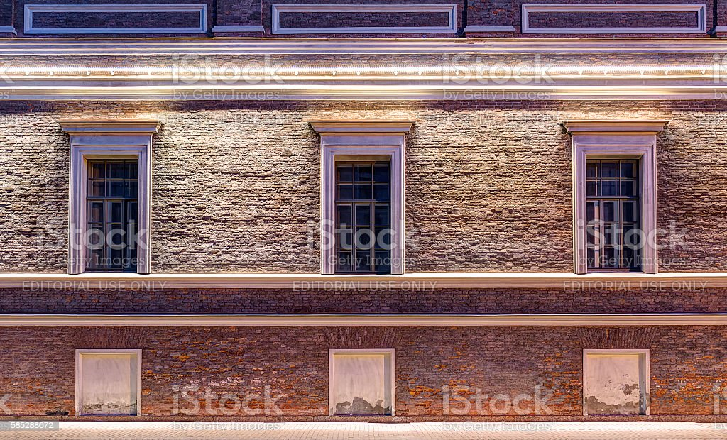 Windows on night facade of Central Naval Museum stock photo