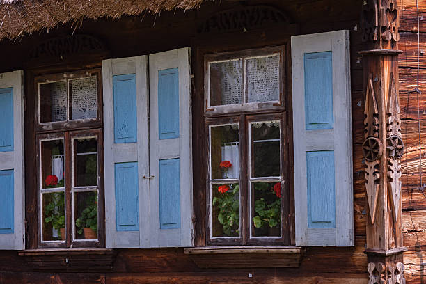 Windows on old wooden house