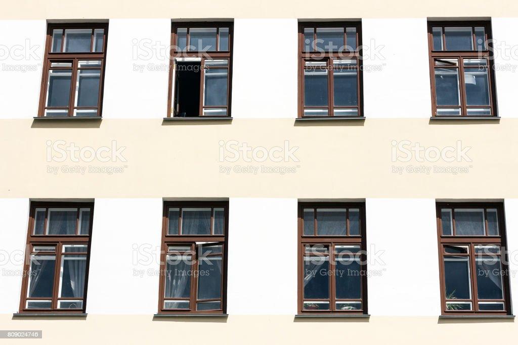 Windows on the facade stock photo