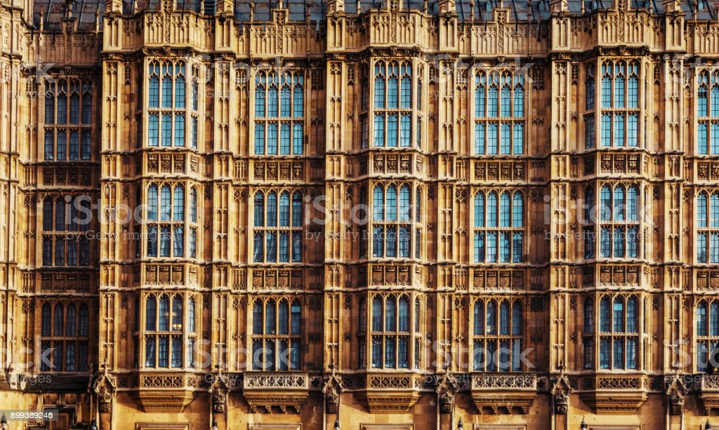 Windows on the parliament building in the capital of United Kingdom stock photo