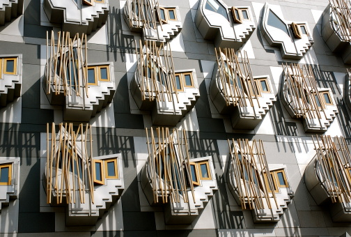 Windows Scottish Parliament Stock Photo - Download Image Now