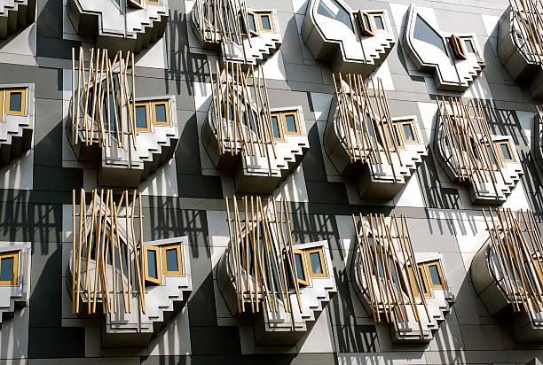 windows scottish parliament stock photo