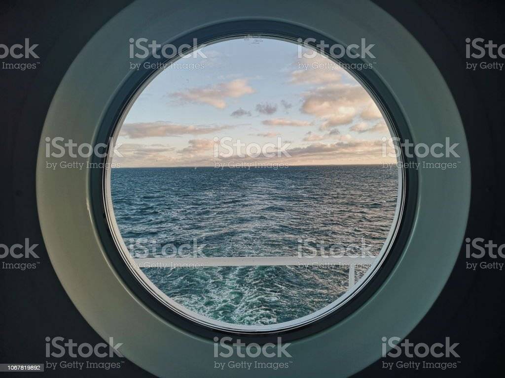 Windows to sea on a Cruise ship stock photo