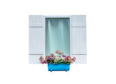 Windows with ornamental flower pots,isolated on white background with clipping path.