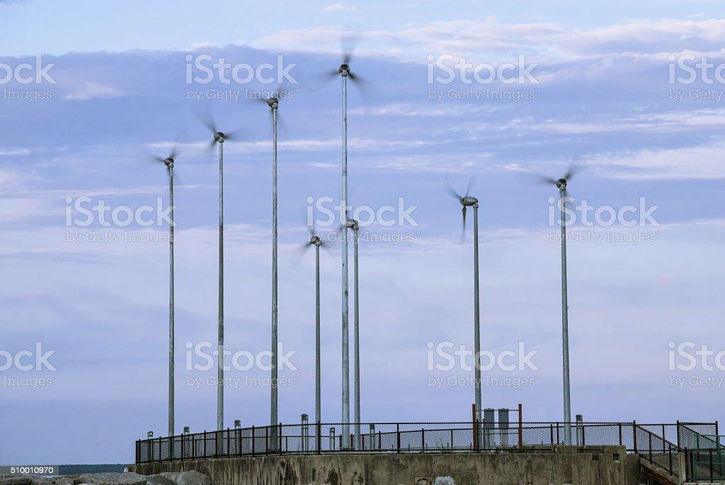 Wind-powered generators stock photo