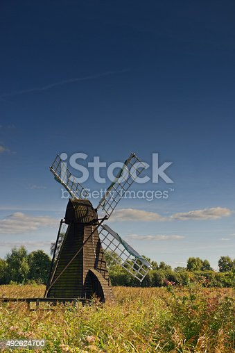 Windpump on the Fens in Cambridgeshire, England UK. click on: East Anglia for more images of this area.
