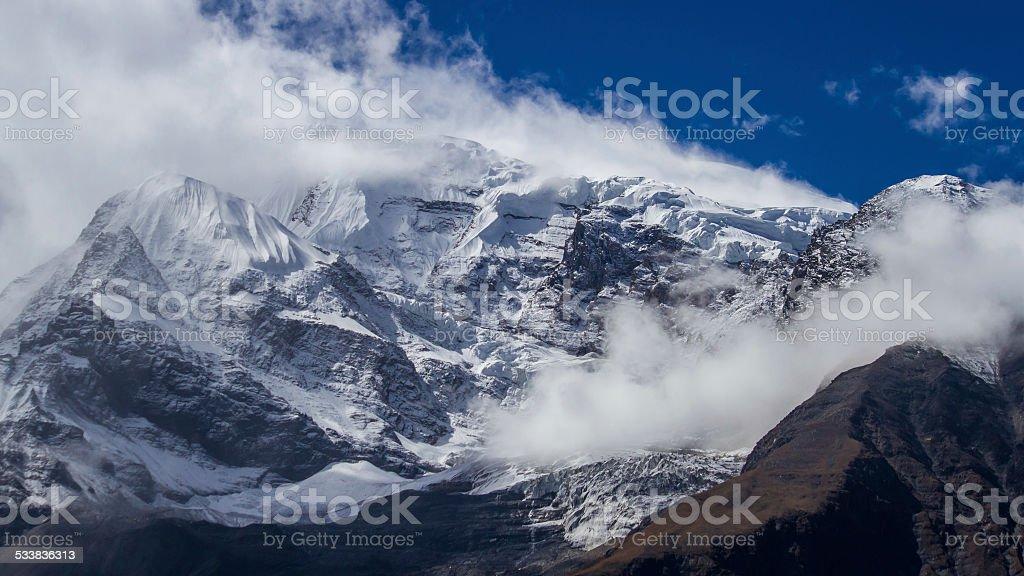 Winds Blow off the Annapurna Mastif, Nepal stock photo