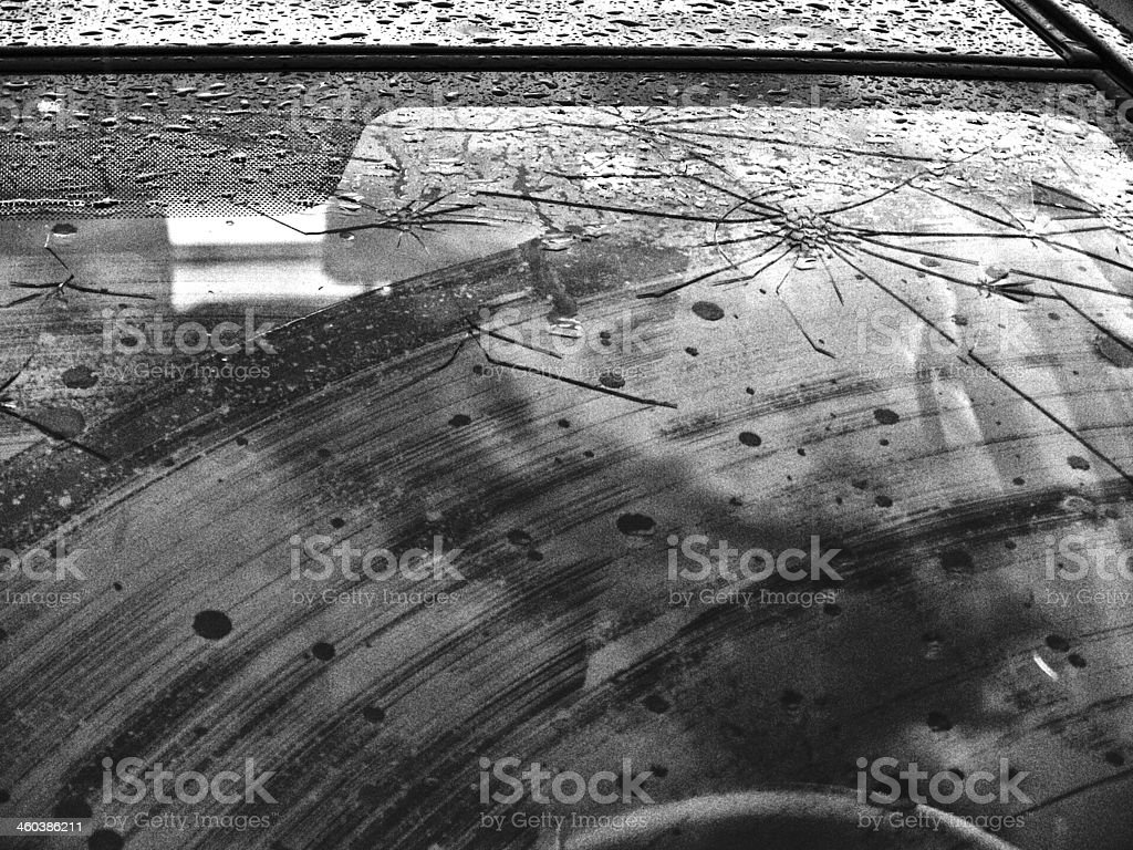 Windshield damaged by hailstones stock photo