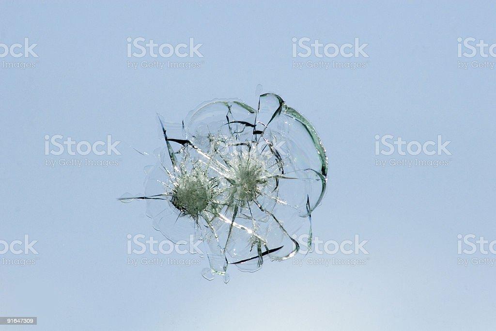 Windshield damaged by rock stock photo