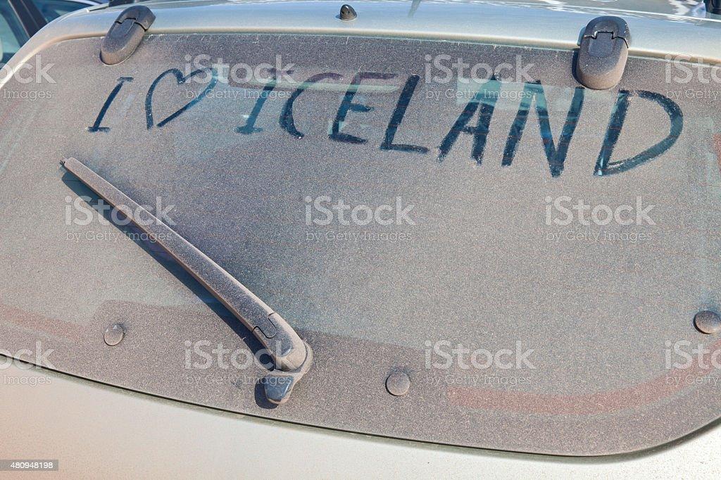 Windschutzscheibe finger scribbling in Island – Foto