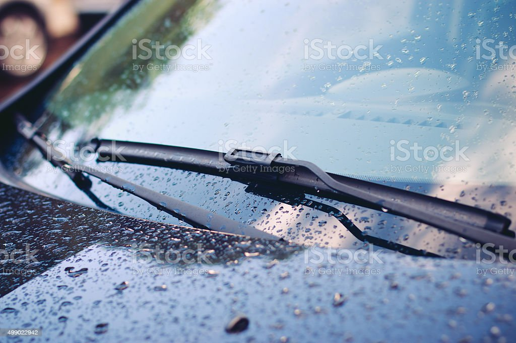 Windshield wiper in rain stock photo