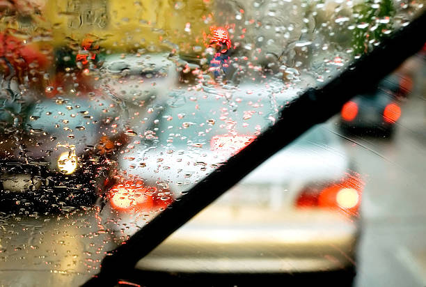 Windshield wipers Windshield wipers from inside car windshield wiper stock pictures, royalty-free photos & images