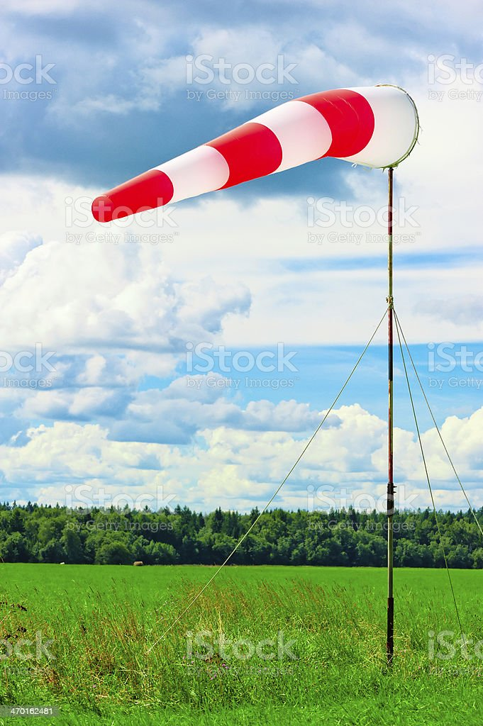 windsock at the airport shows wind direction stock photo