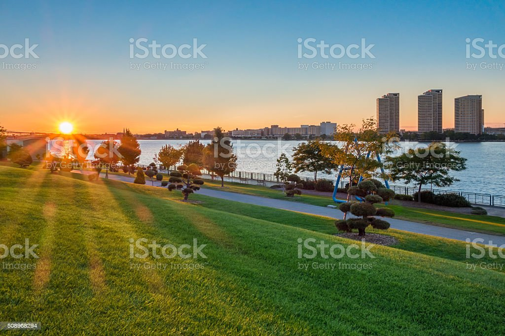 Windsor and Detroit River Ontario Canada Sunset stock photo