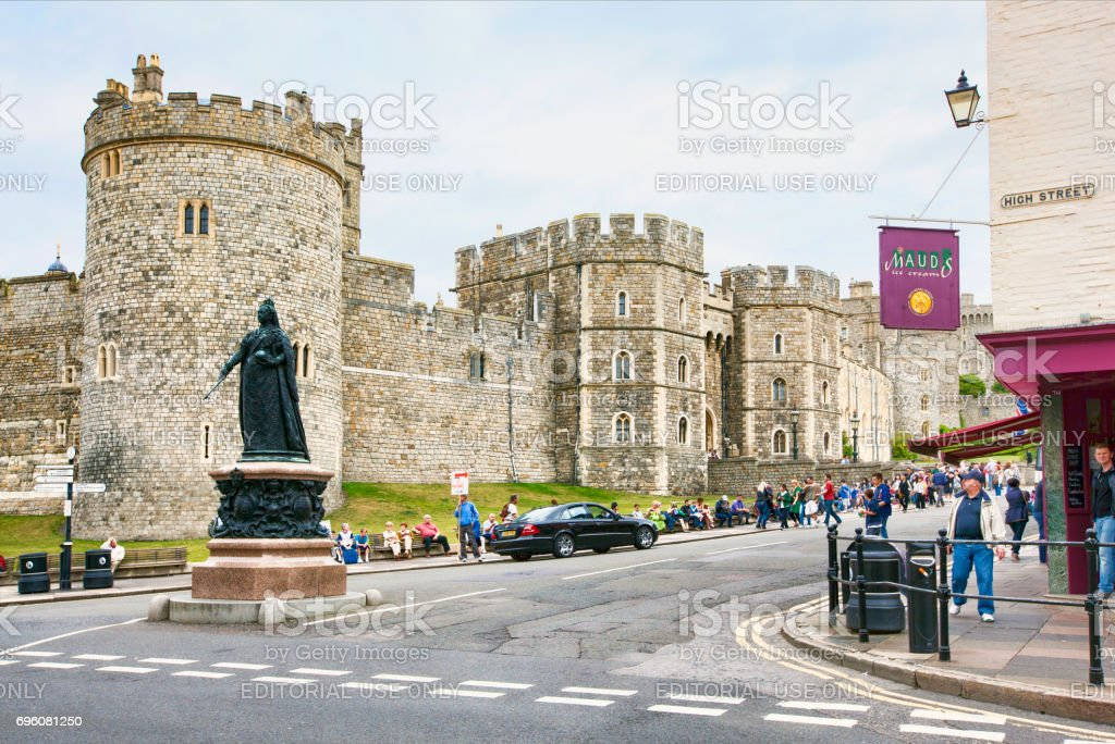 Windsor Castle Seen From The High Street stock photo