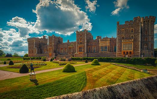 Windsor, UK - April 2018: Courtyard of Windsor Castle near London
