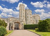 London, UK - circa April 2019: Round Tower of royal Windsor Castle in spring
