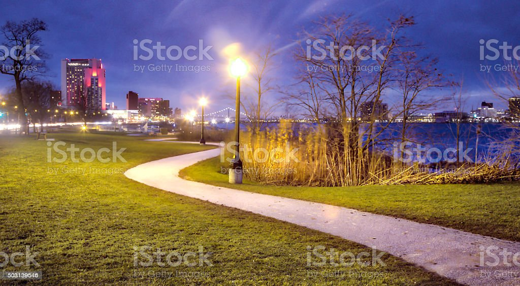 Windsor Ontario Riverfront Trail stock photo