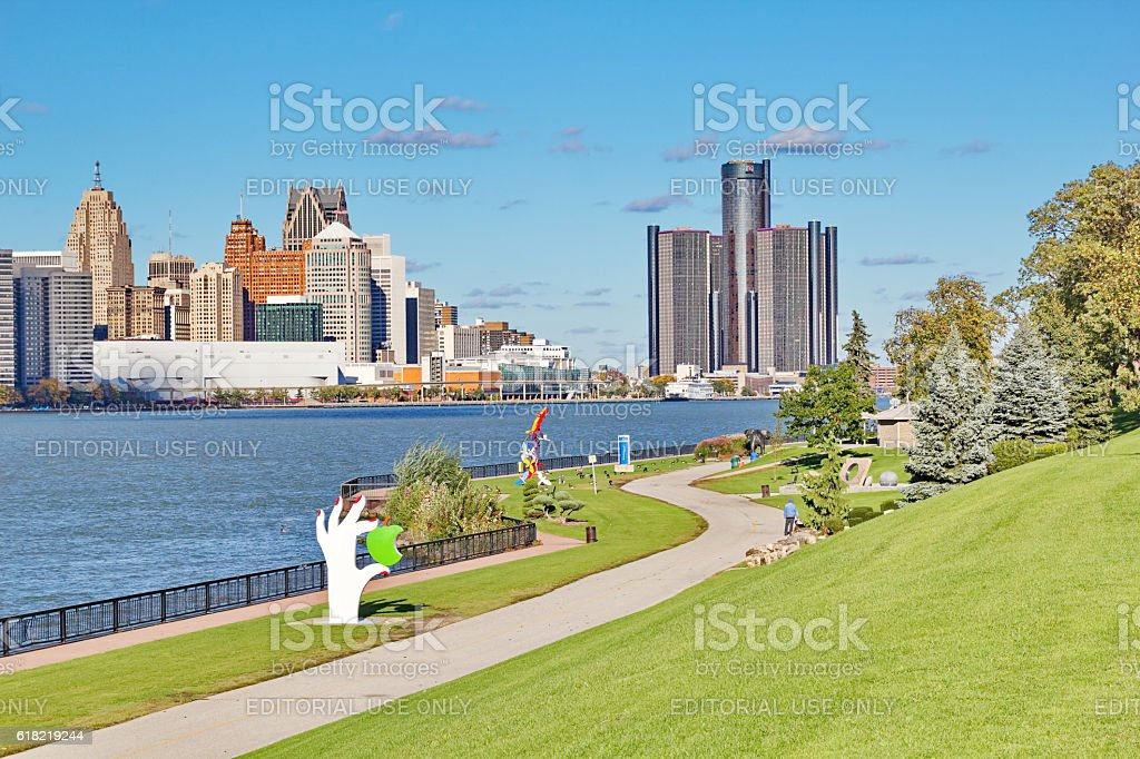 Windsor, Ontario waterfront trail views of Detroit Skyline stock photo