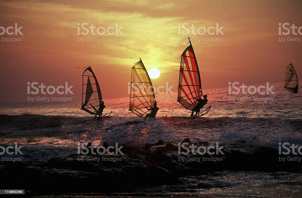 Windsurf at sunset royalty-free stock photo