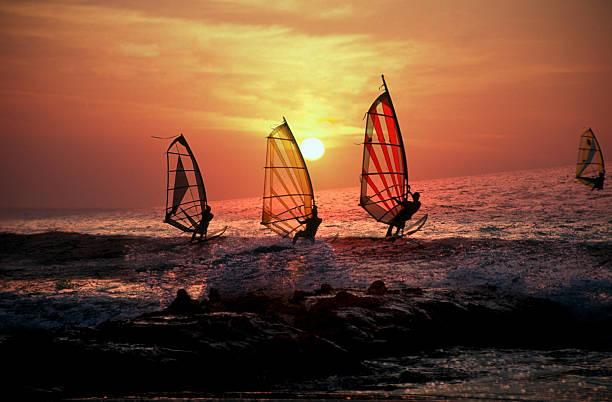 Windsurf at sunset stock photo