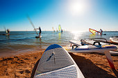 Windsurf boards on the sand at the beach. Windsurfing and active lifestyle.