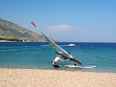 Golden Horn Beach, Brac island, Croatia - June 23rd 2012: Windsurfer in action, famous surf and beach resort in Dalmatia, Croatia.