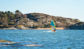 Windsurfing in cold water.