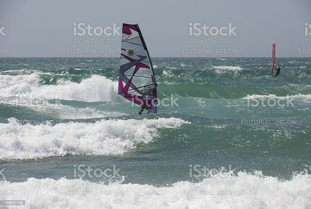Windsurfers at Guincho Beach near Cascais in Portugal stock photo
