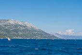 Large group of windsurfers at the Peljesac peninsula in Croatia