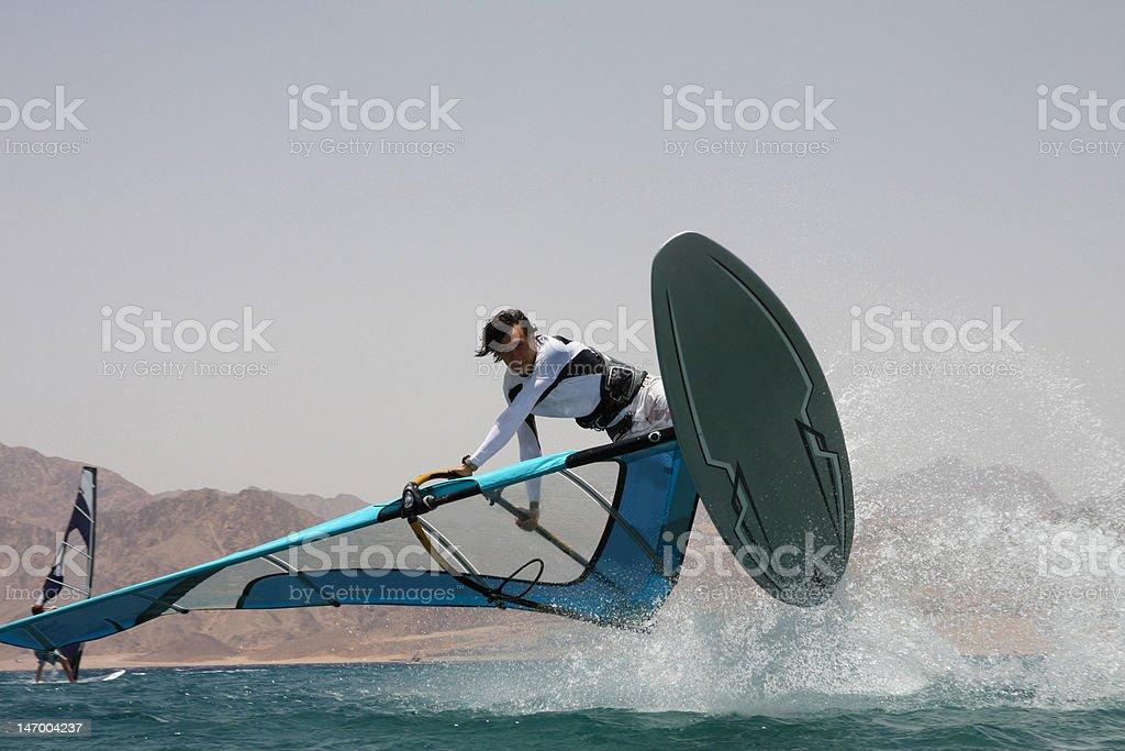 Windsurfer's jump. royalty-free stock photo