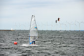 Windsurfing and Kiteboarding - wind turbines in the background