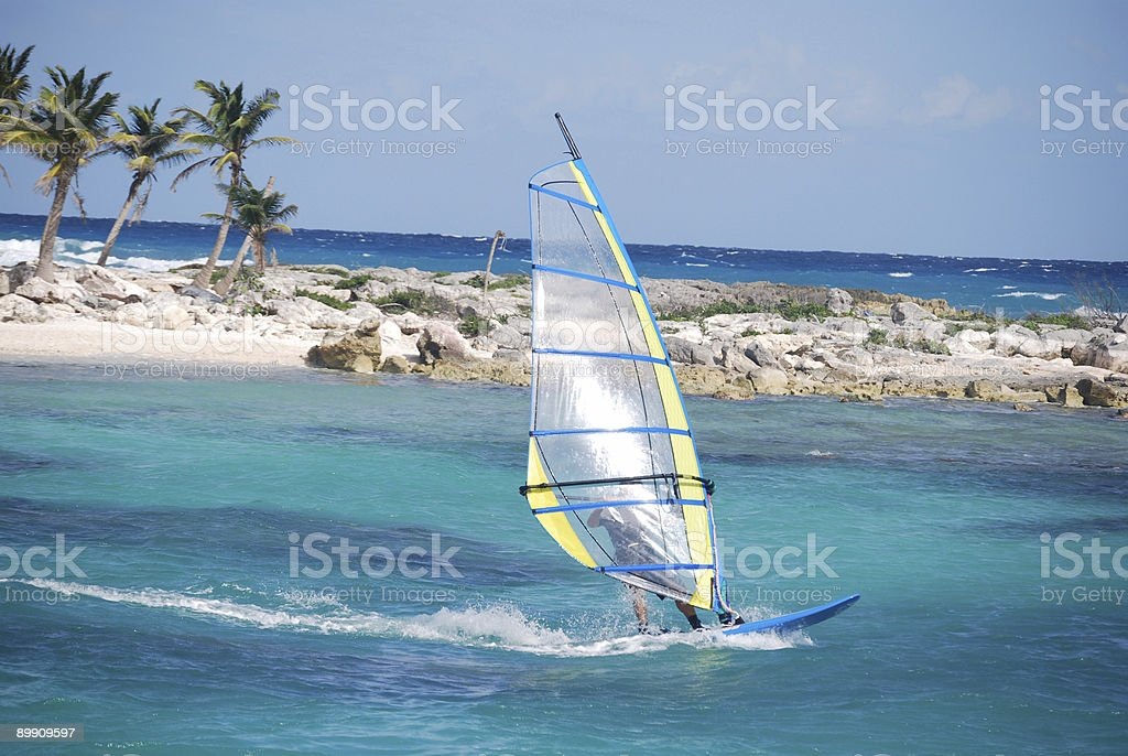 windsurfing at a caribbean resort royalty-free stock photo