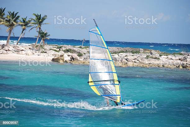 windsurfing at a caribbean resort