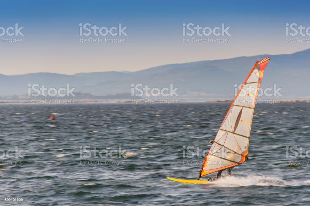 Windsurfing in Arousa Bay royalty-free stock photo