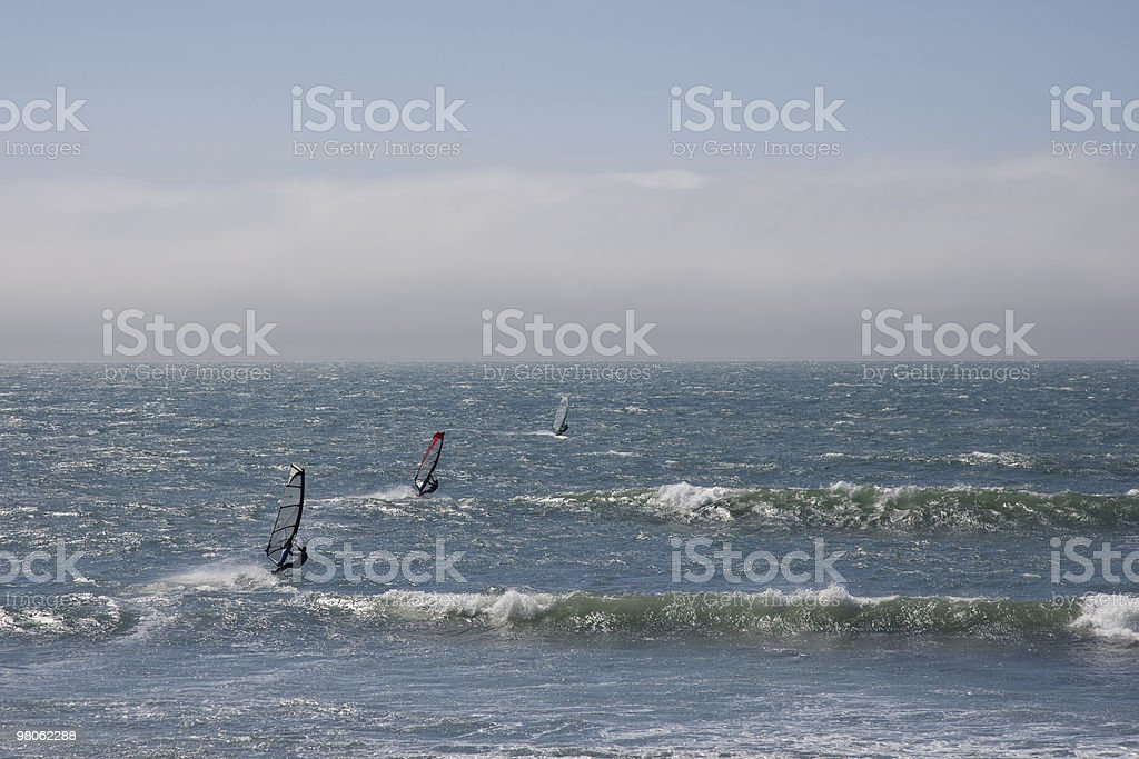 Windsurfing in the Pacific Ocean royalty-free stock photo