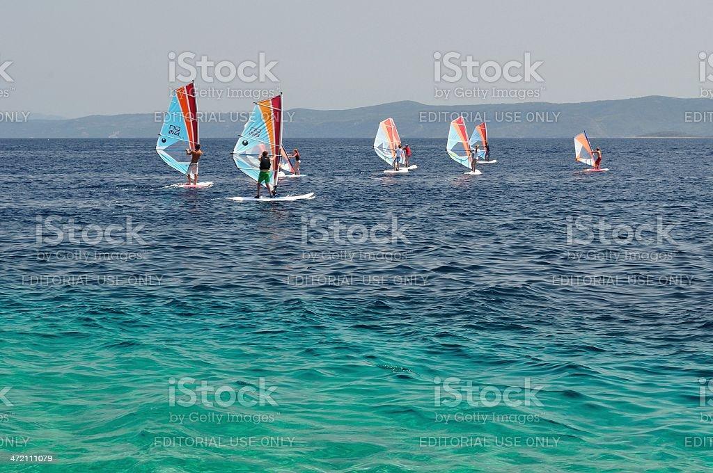 Windsurfing on beach Zlatni rat (Golden Cape). Croatia stock photo