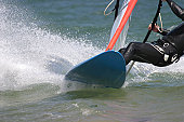 Close-up of windsurfer and board