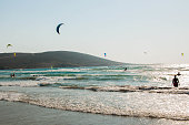 Rhodes, Greece - August 08, 2018: Windsurfing, sailing on the island of Rhodes, Greece