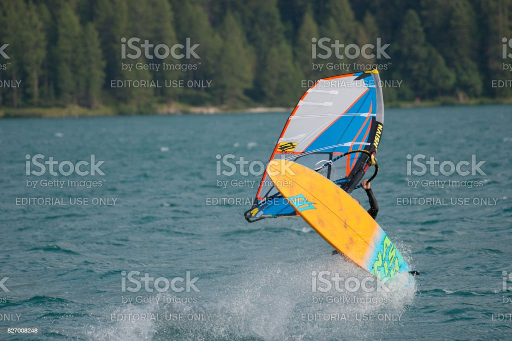 Windsurfing Silvaplana stock photo