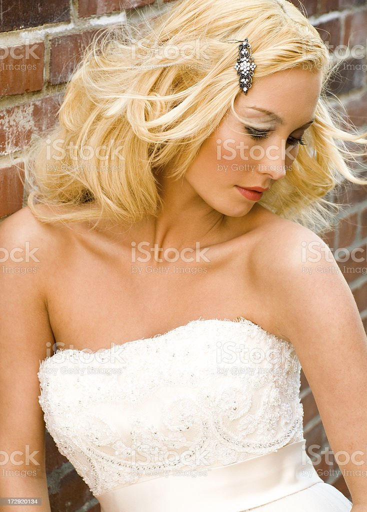 Windswept Bride on Brick stock photo