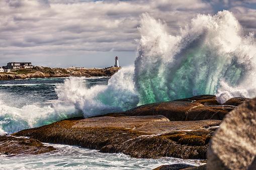 Windswept Heavy Surf at Peggys Cove Nova Scotia Canada