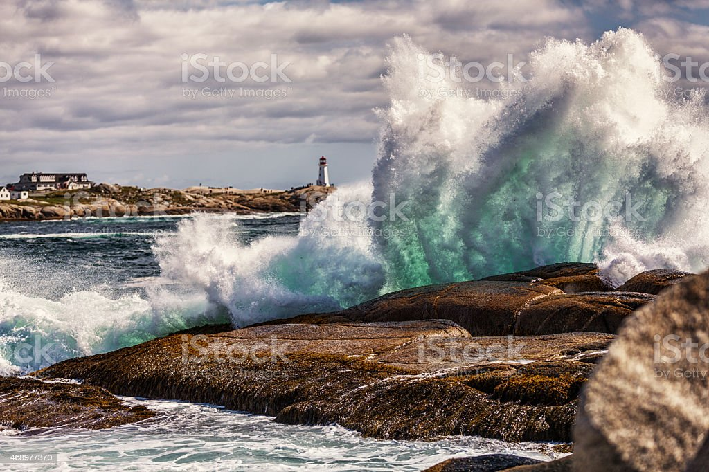 Windswept Heavy Surf at Peggys Cove Nova Scotia Canada foto