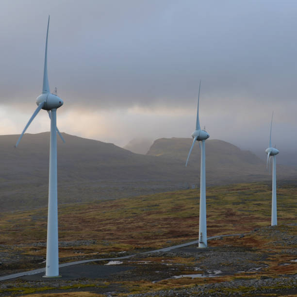 windturbines - imagean faroe islands stock photos and pictures