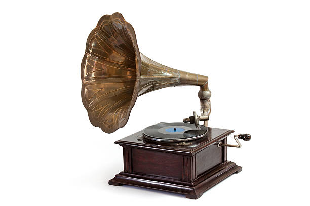 Wind-up Gramophone Record Player stock photo